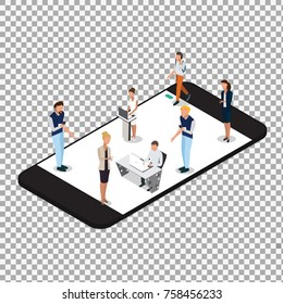 Vector concept of wireless technology devices on transparent background. Flat  isometric poster with smartphone and isometric people. -stock vector
