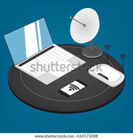 Vector Concept Wireless Technology Devices Flat Stock Vector