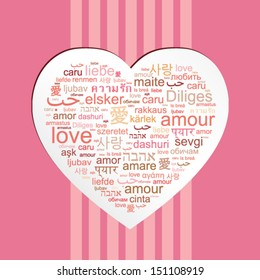 """Vector concept word cloud made of words """"love"""" in many languages forming a heart shape"""
