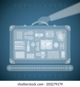 Vector concept of xray airport scanner for tourism and business travel industry