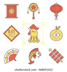 Vector concept of the year of the Rooster isolated on white background. Chinese New Year 2017. Thin line flat design icons. Translation of Chinese character: prosperity, luck.