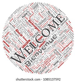 Vector conceptual abstract welcome or greeting international round circle red word cloud in different languages or multilingual. Collage of world, foreign, worldwide travel translate, vacation tourism