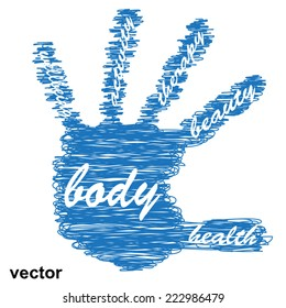 Vector conceptual abstract word cloud man hand print on white background, metaphor to health, nutrition, diet, wellness, body, energy, medical, fitness, medical, gym, medicine, sport, heart or science