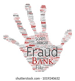 Vector conceptual bank fraud payment scam danger hand print stampword cloud isolated background. Collage of password hacking, virus fake authentication, illegal transaction or identity theft concept