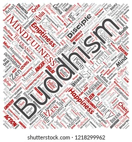 Vector conceptual buddhism, meditation, enlightenment, karma square red word cloud isolated background. Collage of mindfulness, reincarnation, nirvana, emptiness, bodhicitta, happiness concept
