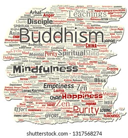 Vector conceptual buddhism, meditation, enlightenment, karma old torn paper word cloud isolated background. Collage of mindfulness, reincarnation, nirvana, emptiness, bodhicitta, happiness concept