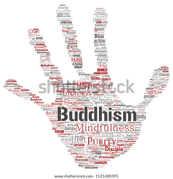 Vector Conceptual Buddhism Meditation Enlightenment Karma