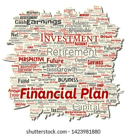 Vector conceptual business or personal financial plan old torn paper red finance strategy word cloud isolated background. Collage of income money investment or future retirement security concept
