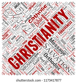 Vector conceptual christianity, jesus, bible, testament square red  word cloud isolated background. Collage of teachings, salvation resurrection, heaven, confession, forgiveness, love concept
