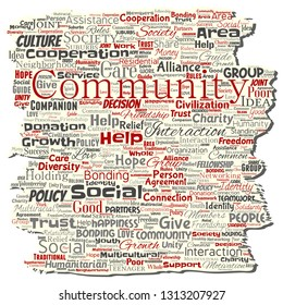 Vector conceptual community, social, connection old torn paper word cloud isolated background. Collage of group, teamwork, diversity, friendship, communication, inclusion, care, respect concept