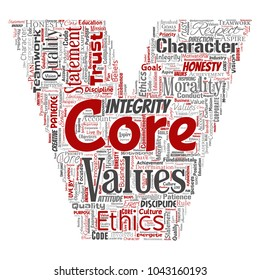 Vector conceptual core values integrity ethics letter font V concept word cloud isolated background. Collage of honesty quality trust, statement, character, perseverance, respect and trustworthy