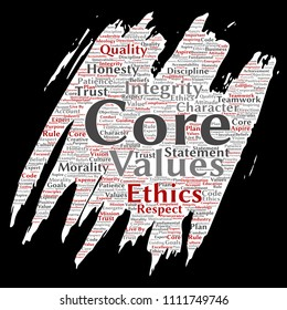 Vector conceptual core values integrity ethics paint brush paper concept word cloud isolated background. Collage of honesty quality trust, statement, character, perseverance, respect and trustworthy
