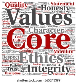 Vector conceptual core values integrity ethics square concept word cloud isolated on background metaphor to honesty, quality, trust, statement, character, important, perseverance, respect trustworthy