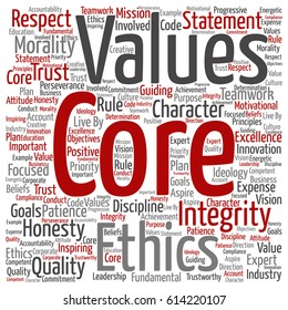 Vector conceptual core values integrity ethics square concept word cloud isolated on background