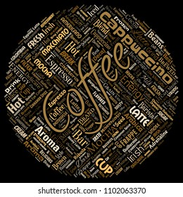 Vector conceptual creative hot morning italian coffee break cappuccino or espresso restaurant or cafeteria round circle red beverage word cloud isolated. A splash of energy or taste drink concept text