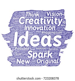 Vector conceptual creative idea brainstorming paint brush word cloud isolated background. Collage of spark creativity original, innovation vision, think, achievement or smart genius concept