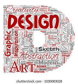 Vector conceptual creativity art graphic identity design visual letter font D word cloud isolated background. Collage of advertising, decorative, fashion, inspiration, vision, perspective modeling