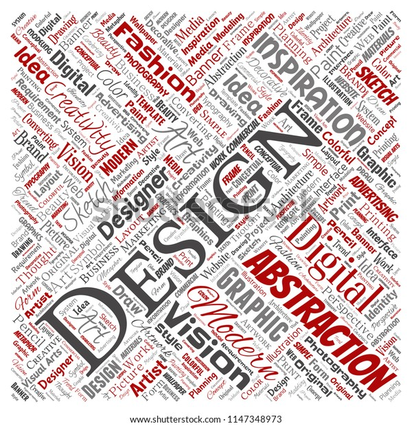 Vector conceptual creativity art graphic identity design visual square red word cloud isolated background. Collage of advertising, decorative, fashion, inspiration, vision, perspective modeling