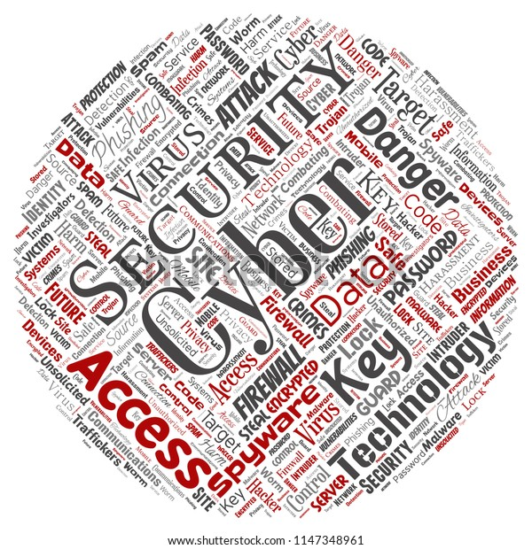 Vector conceptual cyber security online access technology round circle red word cloud isolated background. Collage of phishing, key virus, data attack, crime, firewall password, harm, spam protection
