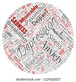 Vector conceptual depression or mental emotional disorder problem round circle red word cloud isolated background. Collage of anxiety sadness, negative sad, despair, unhappy, frustration symptom