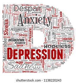 Vector conceptual depression or mental emotional disorder problem letter font D word cloud isolated background. Collage of anxiety sadness, negative sad, despair, unhappy, frustration symptom
