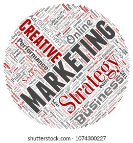 Vector conceptual development business marketing target round circle red word cloud isolated background. Collage advertising, strategy, promotion branding, value, performance planning or challenge