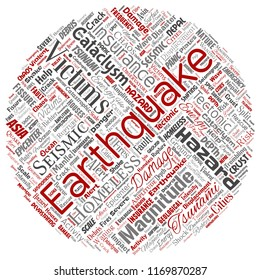 Vector conceptual earthquake activity round circle red word cloud isolated background. Collage of natural seismic tectonic crust tremble, violent tsunami waves risk, tectonic plates shifting concept