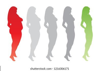 Vector conceptual fat overweight obese female vs slim fit healthy body after weight loss or diet with muscles thin young woman isolated. Fitness, nutrition or fatness obesity, health silhouette shape