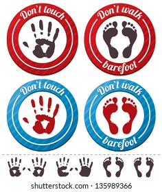 Vector conceptual feet and hand signs (icons). Isolated on white background (collection). Do not touch sign. Do not walk barefoot sign.