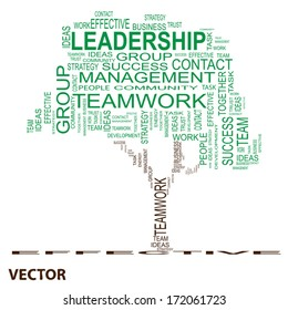 Vector Conceptual green leadership tree made of team text as wordcloud isolated on white background
