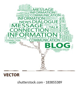 Vector conceptual green tree word cloud on white background, metaphor for communication, speech, message, mail, relation, dialog, talk, report, contact, stair, climb, email, internet wordcloud