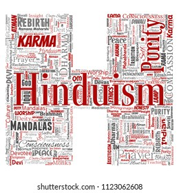 Vector conceptual hinduism, shiva, rama, yoga letter font H red word cloud isolated background. Collage of mandalas, samsara, celebration, tradition, peace, compassion, rebirth, karma, dharma concept