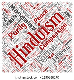 Vector conceptual hinduism, shiva, rama, yoga square red word cloud isolated background. Collage of mandalas, samsara, celebration, tradition, peace, compassion, rebirth, karma, dharma concept