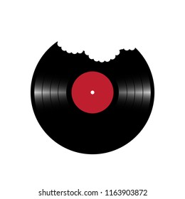 Vector conceptual illustration. Delicious music. Vinyl plate in with bite marks.