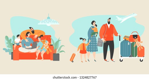 Vector conceptual illustration with happy family buying tickets online. Technology makes life easier