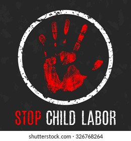 Vector conceptual illustration - Poster stop child labor. International Day of Innocent Children - Victims of Aggression