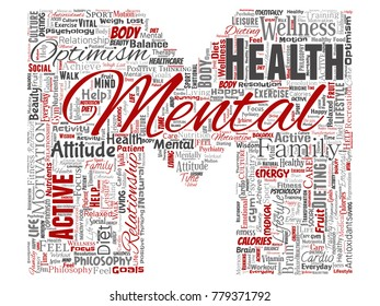 Vector conceptual mental health or positive thinking letter font M word cloud isolated background. Collage of optimism, psychology, mind healthcare, thinking, attitude balance or motivation text