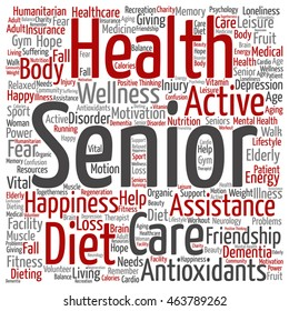 Vector conceptual old senior health, care or elderly people abstract square word cloud isolated on background metaphor to healthcare, illness, medicine, assistance, help, treatment, active or happy