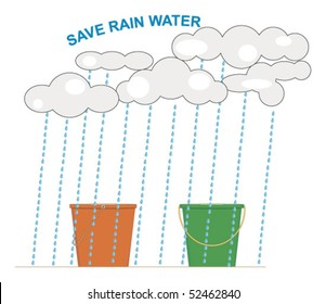 Vector conceptual rainwater harvesting illustration.