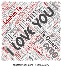Vector conceptual sweet romantic I love you multilingual message square red word cloud isolated background. Collage of valentine day, romance affection, happy emotion or passion lovely concept design