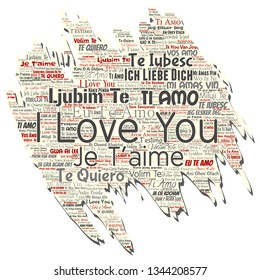 Vector conceptual sweet romantic I love you multilingual message old torn paper word cloud isolated background. Collage of valentine day, romance affection,  happy emotion or passion lovely concept