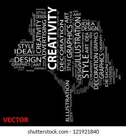 Vector conceptual tree as wordcloud