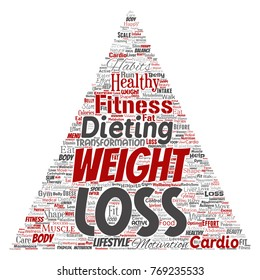 Vector conceptual weight loss healthy diet transformation triangle arrow word cloud isolated background. Collage of fitness motivation lifestyle, before and after workout slim body beauty concept