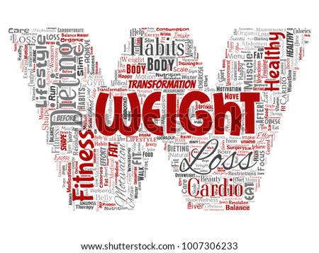 Three Letter Word For Body Of Water.Vector Conceptual Weight Loss Healthy Diet Stock Vector