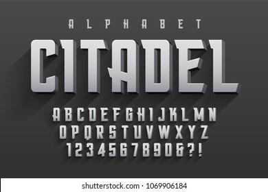 Vector condensed original display font design, alphabet, character set. Swatch color control.