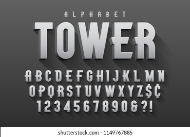 Vector condensed original display font design, alphabet, character set. Easy swatch color control.