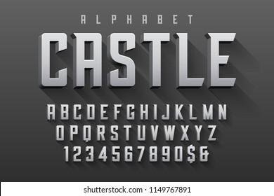 Vector condensed original display font design, alphabet, character set. Easy swatch color control.