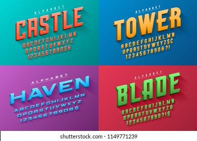 Vector condensed original display fonts design, alphabet, character set. Easy swatch color control.