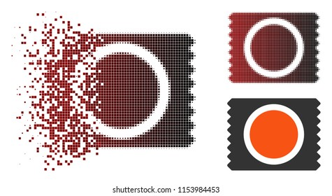 Vector condom pack icon in fractured, pixelated halftone and undamaged whole variants. Disintegration effect involves rectangular particles and horizontal gradient from red to black.