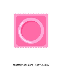 Vector condom and package icon. Contraception concept. Sealed condom isolated on white background.